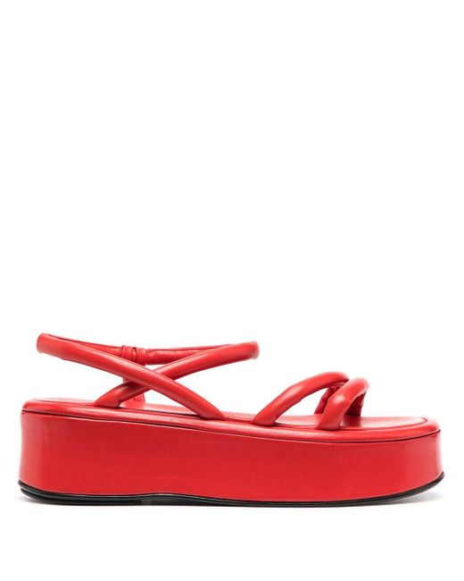 Officine Creative Red Padded Platform Sandals
