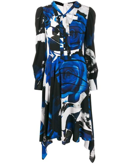 Alexander McQueen グラフィック ドレス Blue