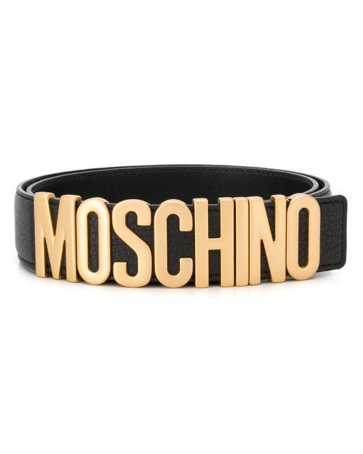 メンズ Moschino ロゴバックル ベルト Black