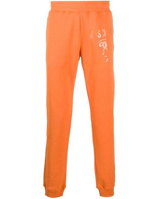 メンズ Moschino ロゴ トラックパンツ Orange