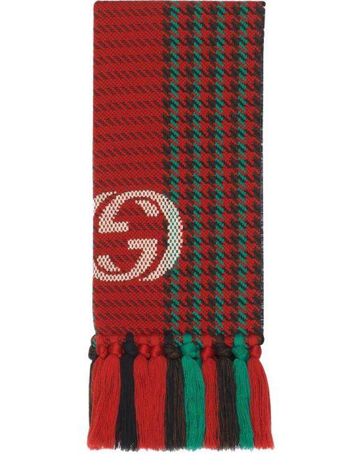 Foulard à imprimé pied-de-poule avec motif GG Gucci pour homme en coloris Red