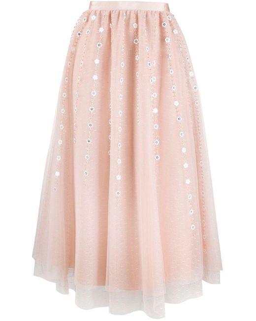 RED Valentino フローラル プリーツスカート Pink