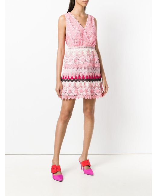30bf60743ff7 ... Self-Portrait - Pink Striped Floral Guipure Dress - Lyst ...