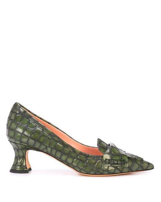 Rochas クロコダイルパターン パンプス Green