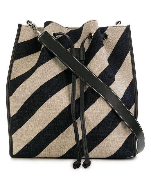 J.W. Anderson - Black Striped Drawstring Bucket Bag - Lyst