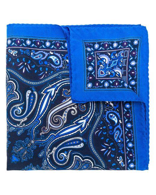 Printed design square scarf Etro pour homme en coloris Blue