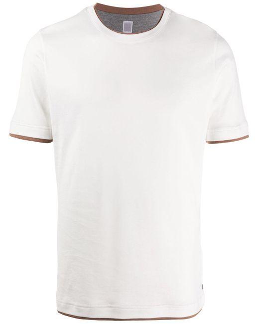 メンズ Eleventy コントラストトリム Tシャツ White