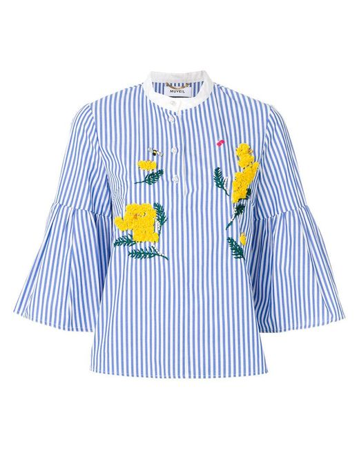 MUVEIL | Blue Embroidery Anemone Top | Lyst