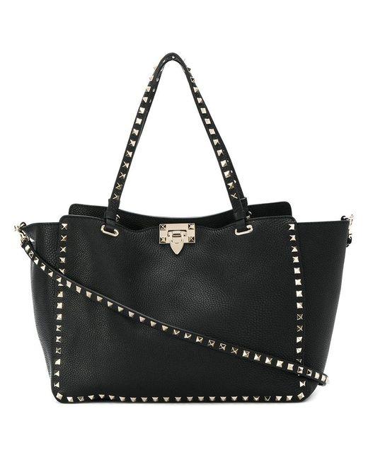 c8881b60a2 Lyst - Valentino Rockstud Medium Leather Tote in Black - Save 20%