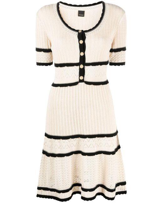 Pinko White Kleid mit Kontrastdetails