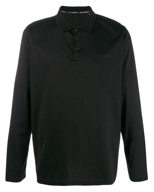 メンズ Karl Lagerfeld ロゴパッチ ポロシャツ Black