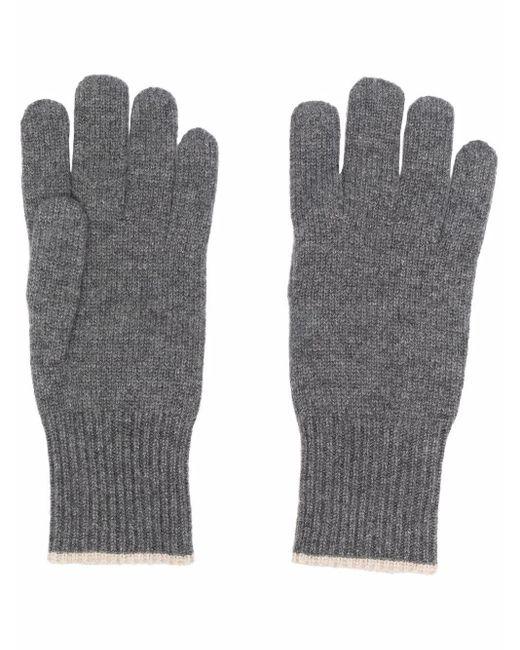 Кашемировые Перчатки В Рубчик Brunello Cucinelli для него, цвет: Gray