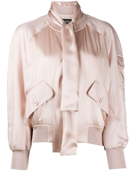 Tom Ford サテン ボンバージャケット Pink