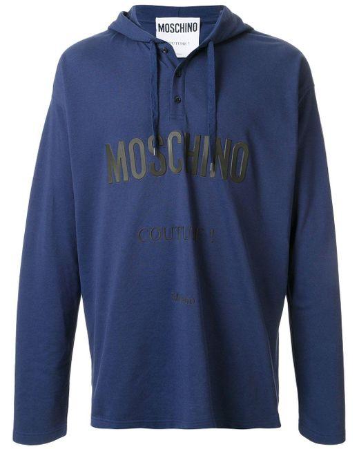 メンズ Moschino Couture ロゴ パーカー Blue