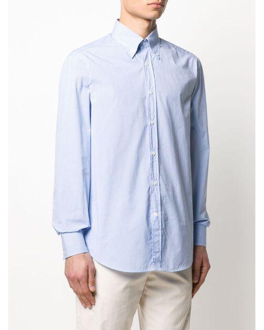 Рубашка В Клетку Гингем Brunello Cucinelli для него, цвет: Blue