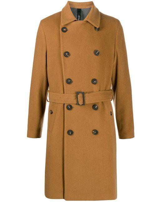 Hevò Brown Savelletri Belted Trench Coat for men