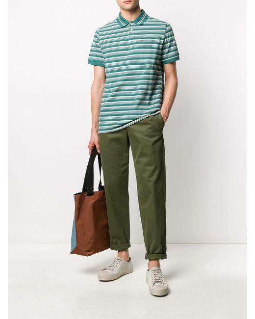 メンズ A.P.C. Estéban ストライプ ポロシャツ Green