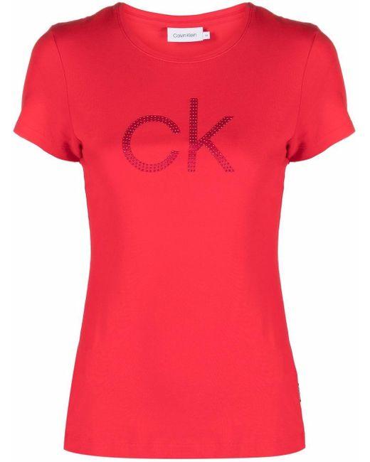 Calvin Klein ラインストーンロゴ Tシャツ Red