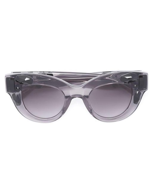 c5cd3266f22b Vera Wang - Gray Embellished Cat Eye Sunglasses - Lyst ...