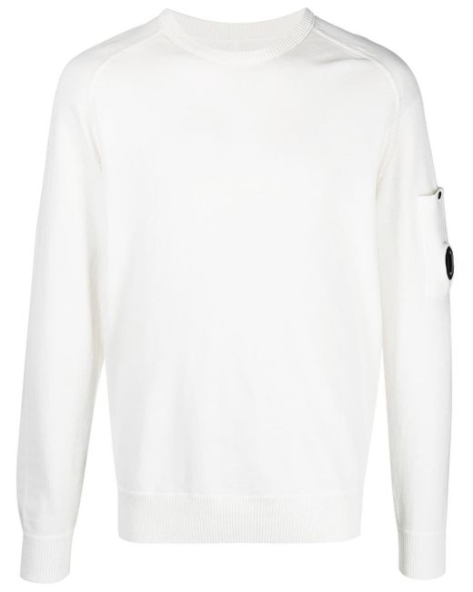 C P Company White Lens-sleeve Cotton Jumper for men