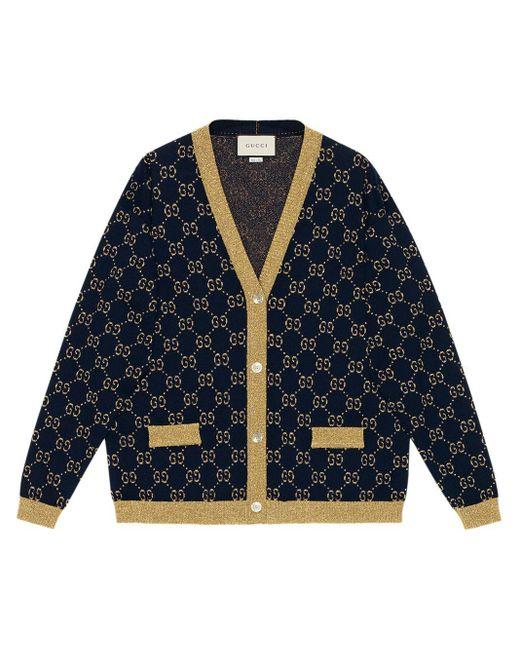 Gucci グッチ公式GGコットンラメ ファブリック カーディガンブルー/ゴールド コットンラメ ファブリックcolor_descriptionウェア Blue