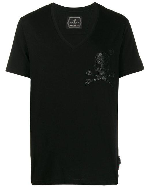メンズ Philipp Plein Vネック Tシャツ Black