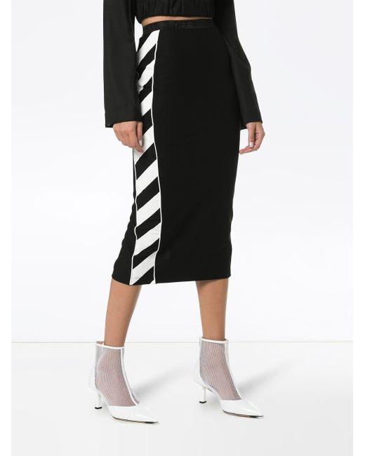 Юбка-карандаш Со Вставками В Диагональную Полоску Off-White c/o Virgil Abloh, цвет: Black