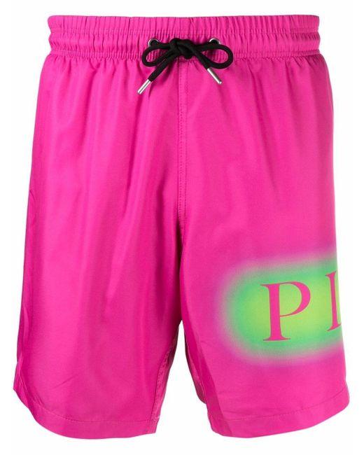 メンズ Philipp Plein ロゴ トランクス水着 Pink