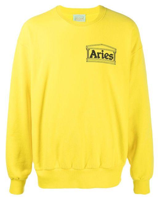 Aries Temple ロゴ スウェットシャツ Yellow