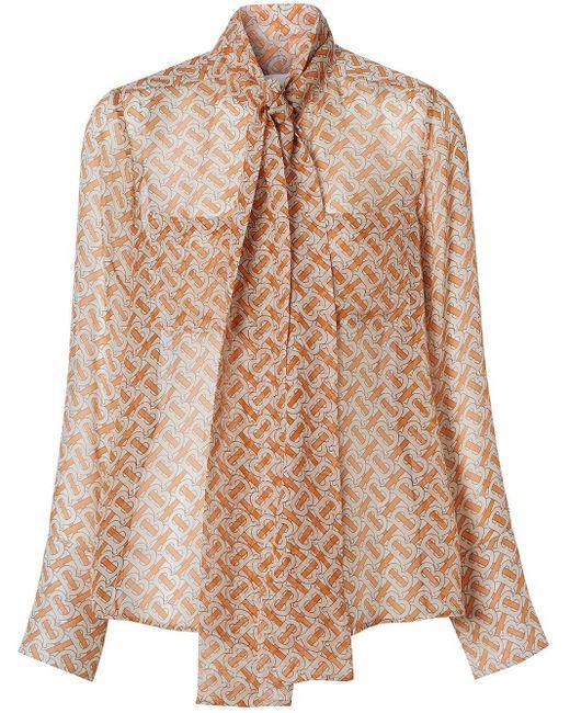 Blusa con fiocco di Burberry in Orange