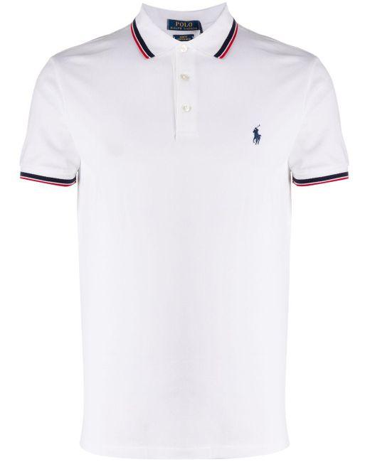 メンズ Polo Ralph Lauren ストライプディテール ポロシャツ White