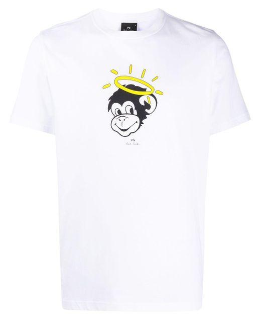 メンズ PS by Paul Smith Angel Monkey プリント Tシャツ White