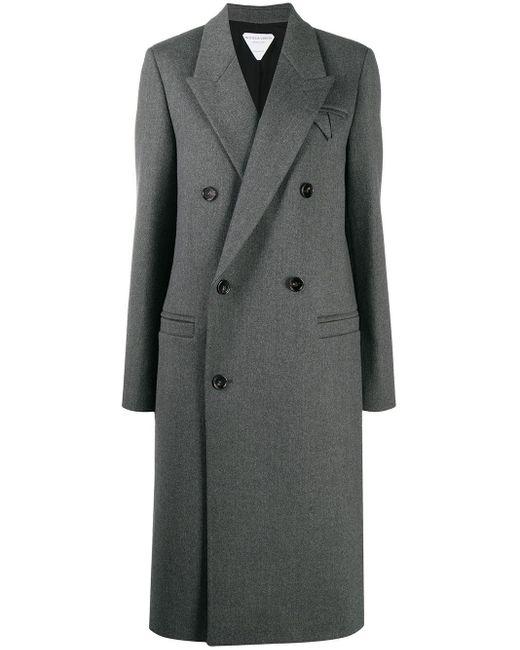 Двубортное Пальто Bottega Veneta, цвет: Gray