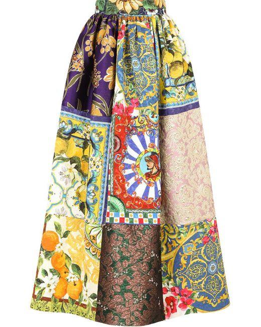 Gonna svasata con design patchwork di Dolce & Gabbana in Multicolor