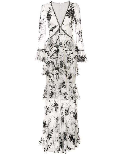 Кружевное Платье С Цветочной Вышивкой Marchesa notte, цвет: White