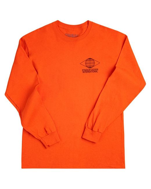 Stadium Goods Orange Globe Long-sleeve T-shirt for men