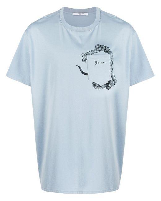 メンズ Givenchy ロゴ Tシャツ Blue