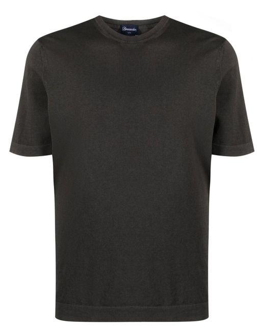Drumohr Brown Crew-neck Cotton T-shirt for men