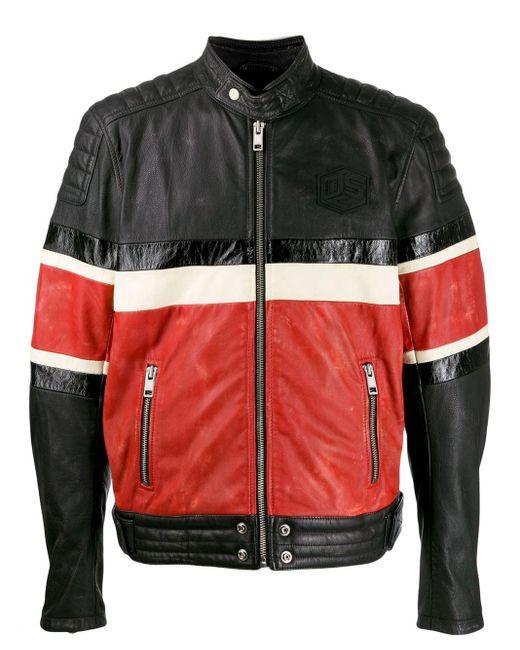メンズ DIESEL カラーブロック ライダースジャケット Black