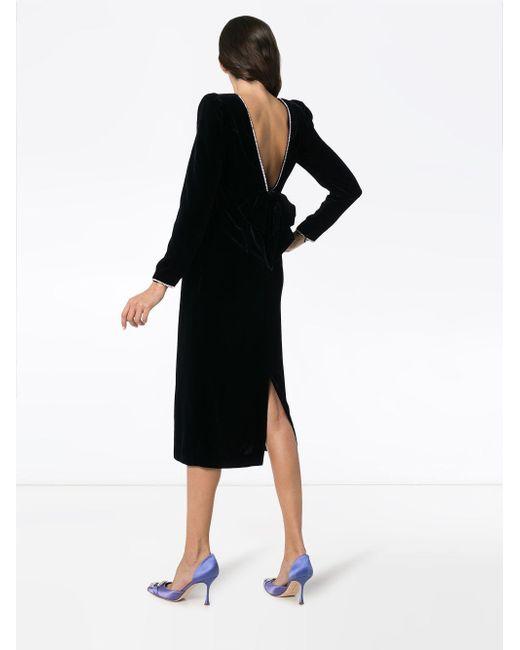 0f8bfb192 ... Gucci - Black Crystal Embellished Open Back Silk Blend Velvet Dress -  Lyst ...