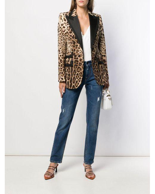 Blazer à imprimé léopard Dolce & Gabbana en coloris Brown