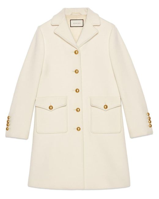 Gucci White Wool Coat With Double G