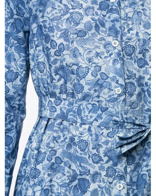 Carolina Herrera フローラル フレアドレス Blue