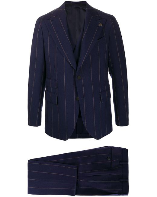 Gabriele Pasini Blue Pinstripe Three-piece Suit for men