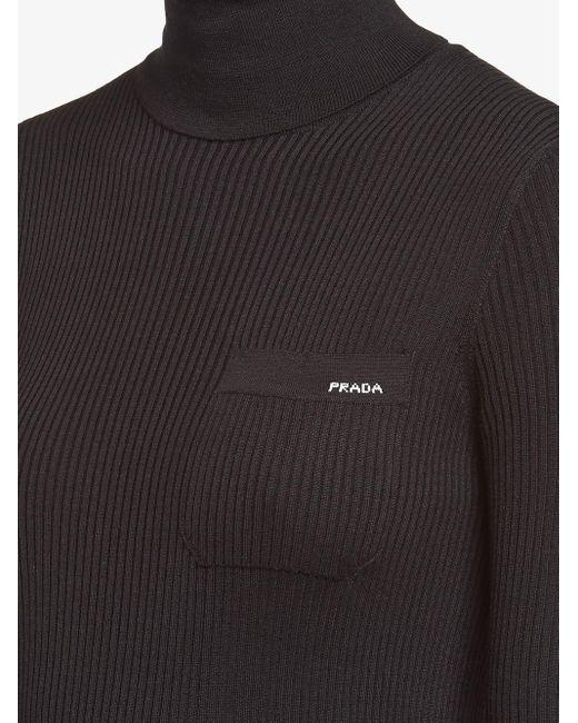 Prada Black Gerippter Pullover mit Logo