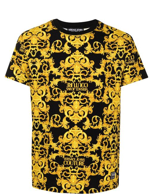 Versace Jeans Black Baroque-print Short-sleeve T-shirt for men