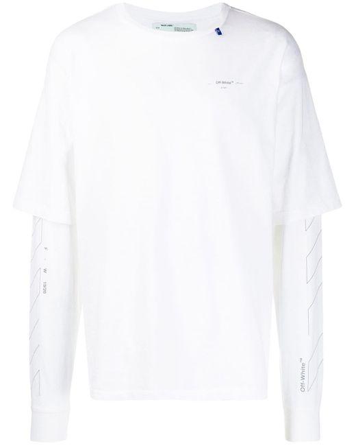 メンズ Off-White c/o Virgil Abloh プリント ロングtシャツ White