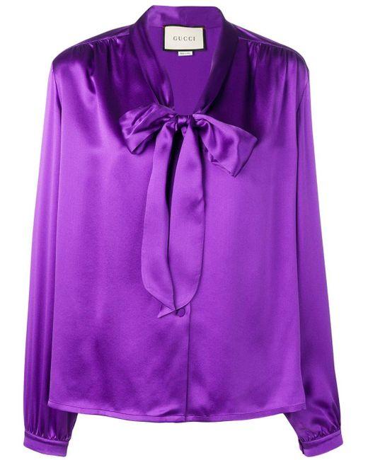 Gucci フロントタイ ブラウス Purple