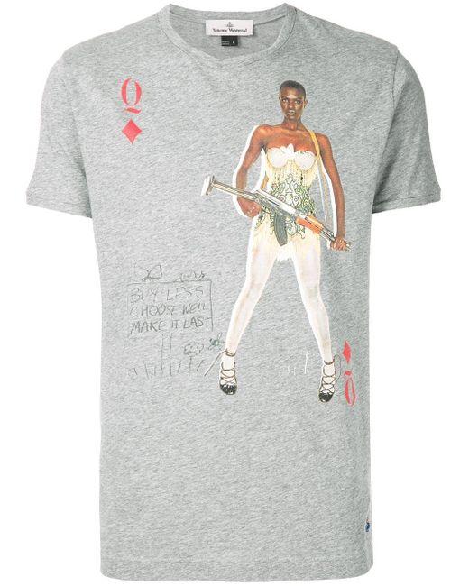 メンズ Vivienne Westwood Queen Of Diamonds Tシャツ Gray