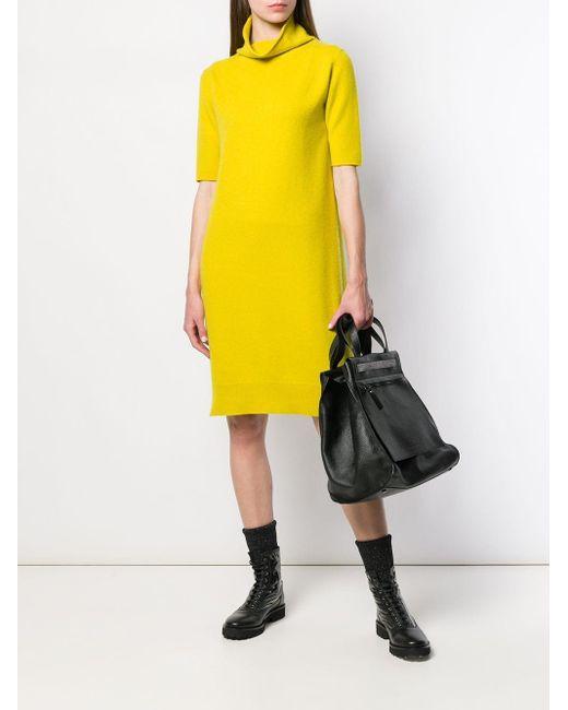 Vestido tubo de manga corta Fabiana Filippi de color Yellow